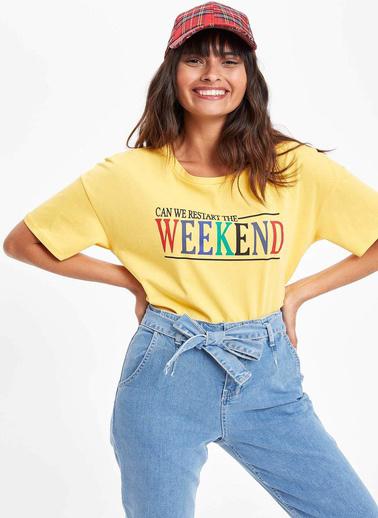 DeFacto Baskılı Kısa Kollu T-shirt Sarı